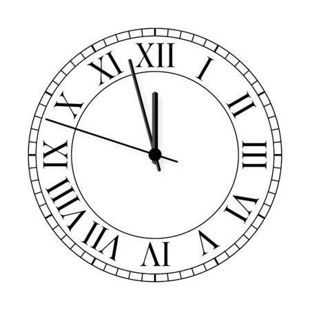 Old clock on white background. Vector illustration. Иллюстрация
