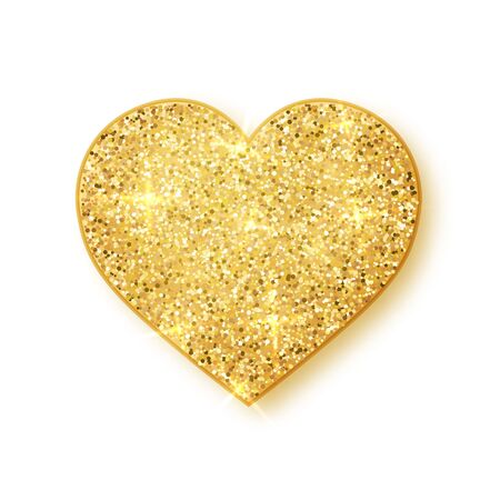 Gold shiny glitter glowing heart with shadow isolated on white background. Vector illustration.