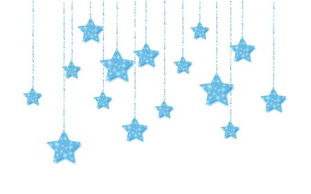 Blue handing shiny glitter glowing star isolated on white background. Vector illustration.