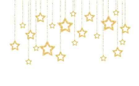 Gold handing shiny glitter glowing star isolated on white background. Vector illustration. Иллюстрация