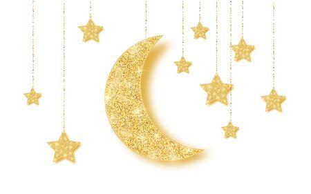 Ramadan Kareem-Hintergrund mit Gold, das glänzenden Funkelnglühenden Mond mit Sternen auf weißem Hintergrund übergibt. Vektor-Illustration. Vektorgrafik