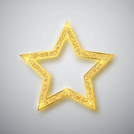 Gold shiny glitter glowing star with shadow isolated on gray background. Vector illustration.