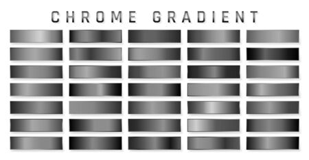 Collection of chrome metallic gradient. Brilliant plates with chrome effect. Vector illustration.