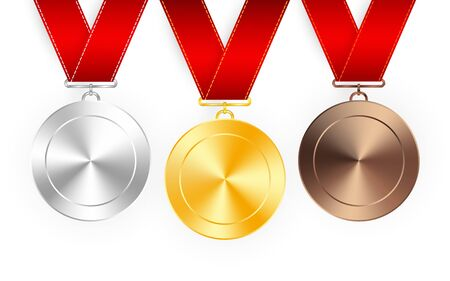 Set of gold, silver and bronze award medals with red ribbons. Medal round empty polished vector collection isolated on white background. Premium badges. Archivio Fotografico - 131195171