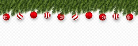 Festive Christmas or New Year Background. Christmas fir-tree branches with xmas red balls. Holidays Background. Vector illustration.