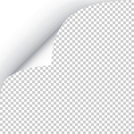 Hoja de papel con esquina rizada y sombra suave, plantilla para su diseño. Ilustración de vector. Ilustración de vector