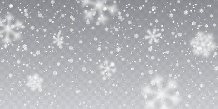 Boże Narodzenie śnieg. Spadające płatki śniegu na przezroczystym tle. Opady śniegu. Ilustracja wektorowa.