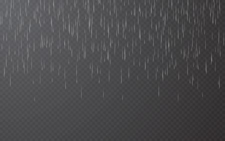 Rain drops on transparent background. Falling water drops. Nature rainfall. Vector illustration.