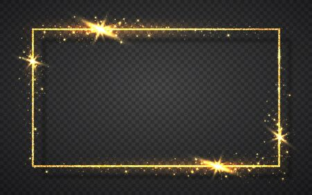 Gold shiny glitter glowing vintage frame with shadows isolated on transparent background. Golden luxury realistic rectangle border. Vector illustration. Çizim