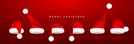 Red Santa Claus hat isolated on red background. Gradient mesh Santa Claus cap with fur. Vector illustration. Çizim