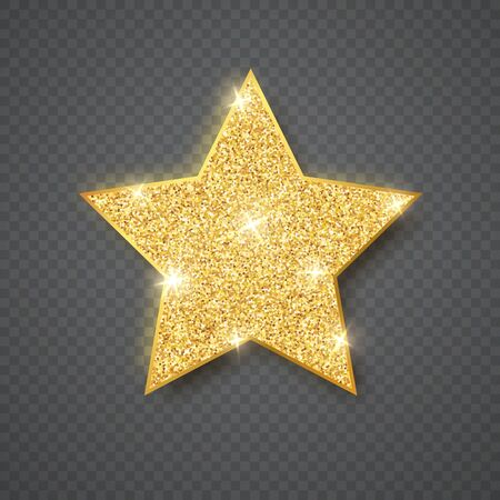 Gold shiny glitter glowing star on gray transparent background. Vector illustration.
