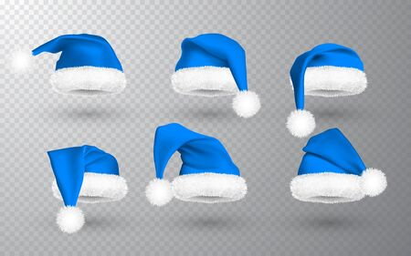 Blue Santa Claus hat isolated on transparent background. Gradient mesh Santa Claus cap with fur. Vector illustration.