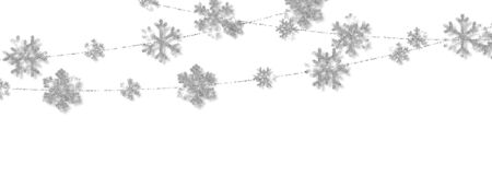 Christmas or New Year silver snowflake decoration garland on white background. Hanging glitter snowflake. Vector illustration. Çizim