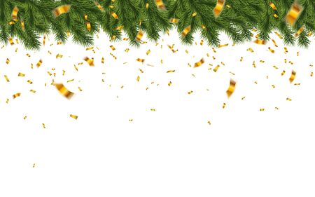 Festive Christmas or New Year Background. Christmas fir-tree branches with confetti. Holidays Background. Vector illustration.
