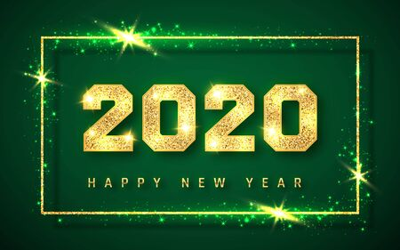Happy New Year 2020, gold shiny glitter glowing numbers design of greeting card, Vector illustration. Çizim