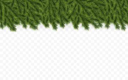Festive Christmas or New Year Background. Christmas Tree Branches. Holidays Background. Vector illustration.