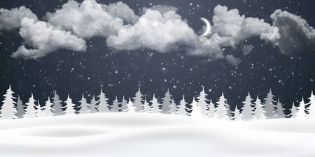Christmas night background with clouds, moon and falling snow. Winter landscape. Vector illustration.