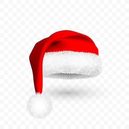 Red Santa Claus hat isolated on transparent background. Gradient mesh Santa Claus cap with fur. Vector illustration.