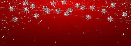 Christmas or New Year silver snowflake decoration garland on red background. Hanging glitter snowflake. Vector illustration.
