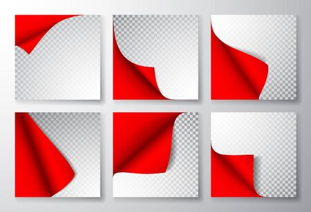 Paper page with curled corner and shadow. Template for your design. Set. Vector illustration. Ilustração
