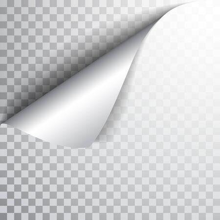 Strona papieru z zawiniętym rogiem i cieniem. Szablon dla swojego projektu. Ustawić. Ilustracja wektorowa.