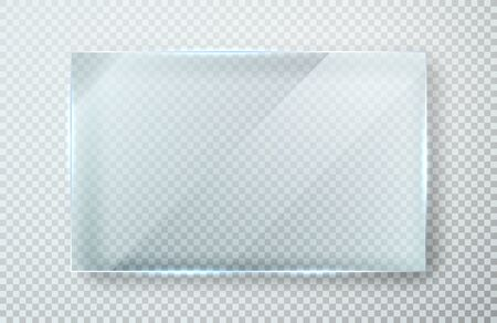 Glass plates set. Glass banners on transparent background. Flat glass clear window. Vector illustration.