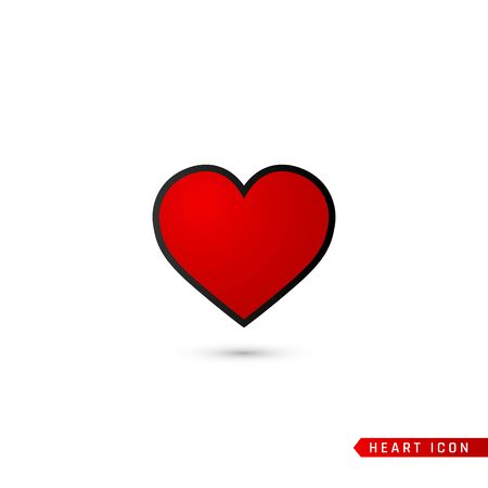 Heart flat icon. Love symbol isolated on white background. Vector illustration.