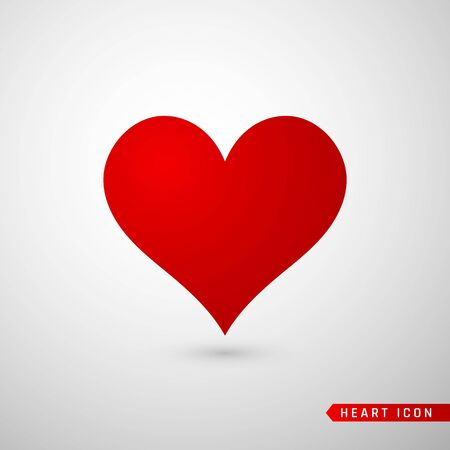 Heart flat icon. Love symbol isolated on gray background. Vector illustration.
