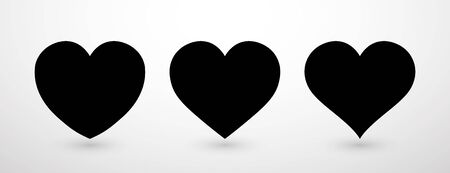 Heart collection flat icon set. Love symbol isolated on gray background. Vector illustration.