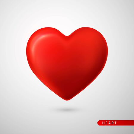 Red Heart. Love symbol isolated on gray background. Vector illustration. Vetores