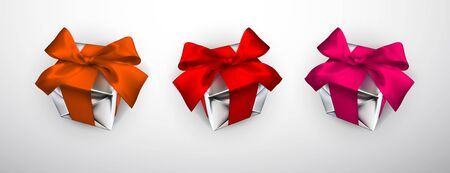 Realistic gift box with red, pink and orange bow isolated on gray background. Vector illustration.