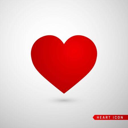 Icono plano del corazón. Símbolo de amor aislado sobre fondo gris. Ilustración de vector.