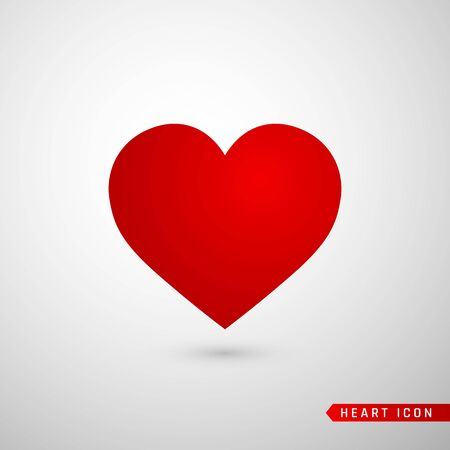 Płaskie ikona serca. Symbol miłości na białym tle na szarym tle. Ilustracja wektorowa.