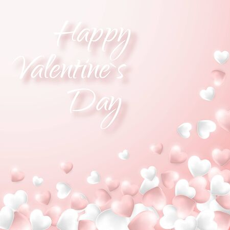 Happy Valentines Day background, pink and white hearts on light pink background. Vector illustration.