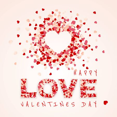 Happy Valentines Day background, paper red, pink and white orange hearts confetti. Vector illustration. Archivio Fotografico - 138505147