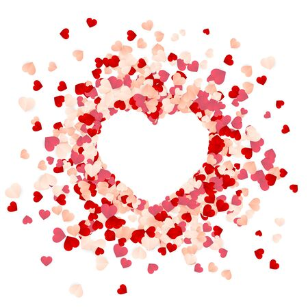 Happy Valentines Day background, paper red, pink and white hearts confetti. Vector illustration.