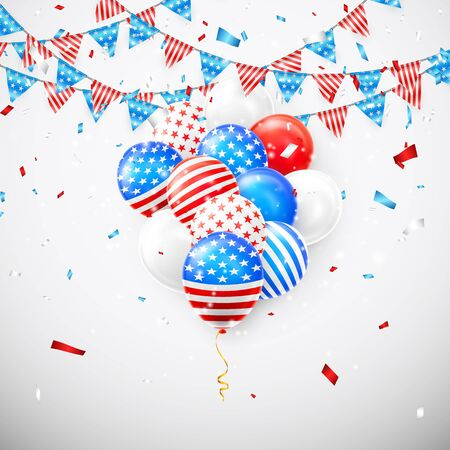 Hanging Bunting Flags for American Holidays card design. American balloons and flag garland with confetti background. Vector illustration.