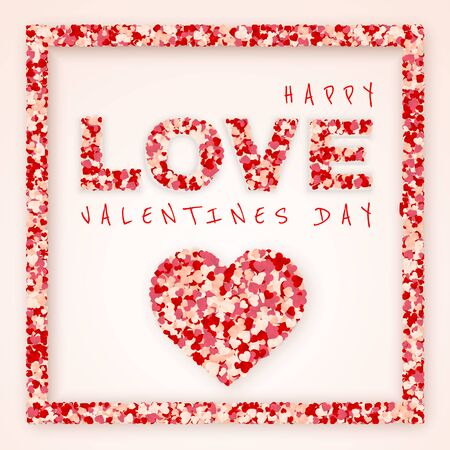 Happy Valentines Day background, paper red, pink and white orange hearts confetti frame. Vector illustration. Ilustração