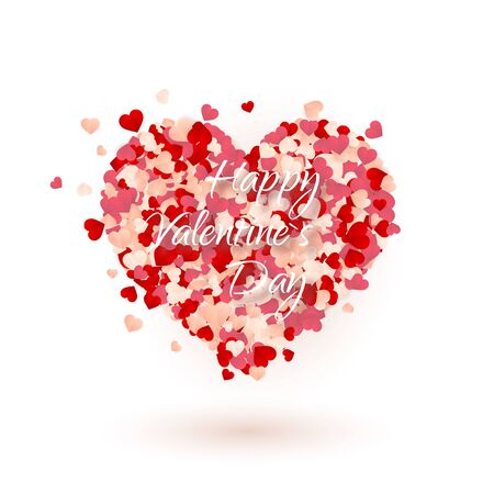 Happy Valentines Day background, paper red, pink and white orange hearts confetti. Vector illustration. Archivio Fotografico - 138505166