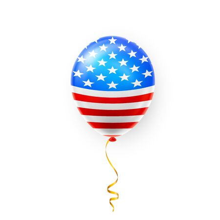 Helium balloons with American flag isolate on white background. Shine USA helium balloon festival decoration. Vector illustration.
