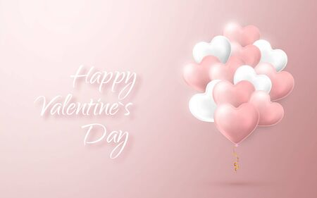 Happy Valentines Day background, flying bunch of pink and white helium balloon in form of heart. Vector illustration.