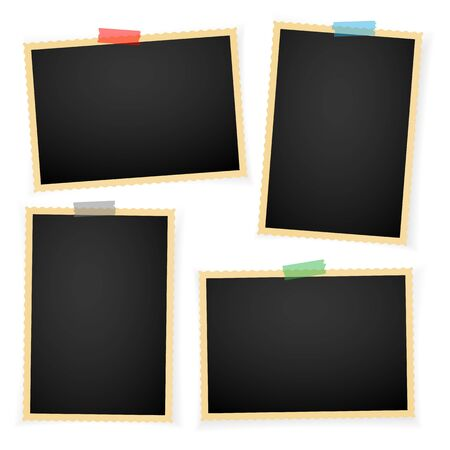 Retro fotoframe met schaduwen. Vector illustratie