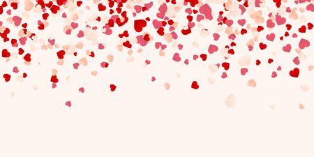 Happy Valentines Day tło, papier czerwony, różowy i biały pomarańczowy konfetti serca. Ilustracja wektorowa.