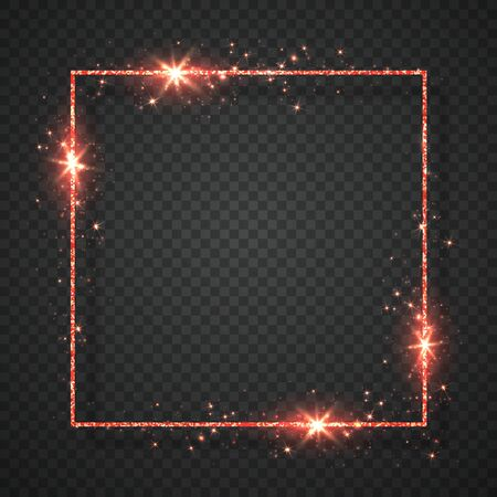 Red shiny glitter glowing vintage frame with shadows isolated on transparent background. Vector illustration. Archivio Fotografico - 138505173
