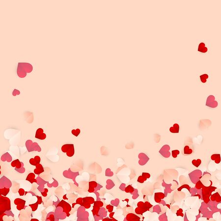 Happy Valentines Day background, paper red, pink and white orange hearts confetti. Vector illustration. Archivio Fotografico - 137524885