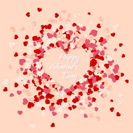 Happy Valentines Day background, paper red, pink and white orange hearts confetti. Vector illustration. Ilustração