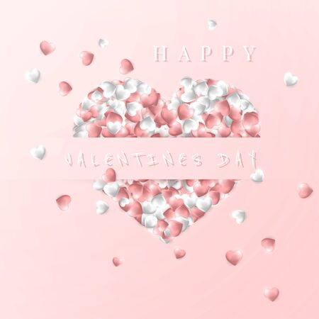 Happy Valentines Day background, pink and white hearts on pink background. Vector illustration. Archivio Fotografico - 137524945