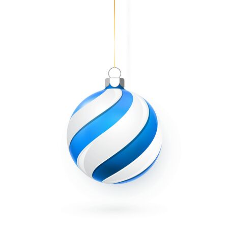 Blue Christmas ball. Xmas glass ball on white background. Holiday decoration template. Vector illustration. Ilustração