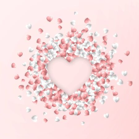 Happy Valentines Day background, pink and white hearts on pink background. Vector illustration. Ilustração