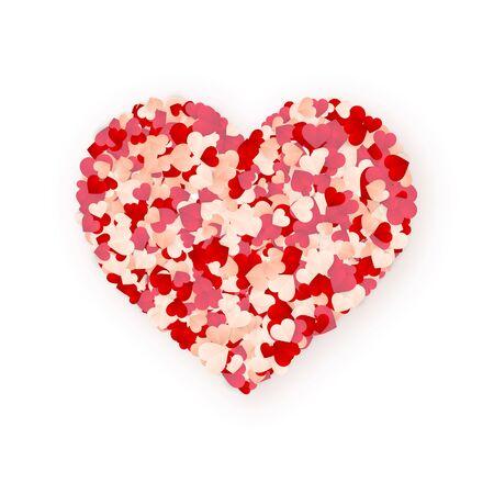 Happy Valentines Day background, paper red, pink and white orange hearts confetti. Vector illustration. Archivio Fotografico - 138505176
